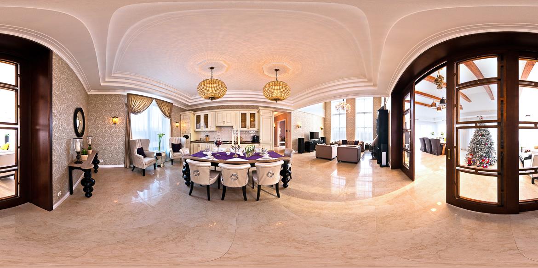 3D-тур по коттеджу, гостинная комната