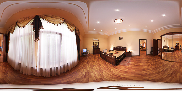3d панорама спальни гостиничного номера