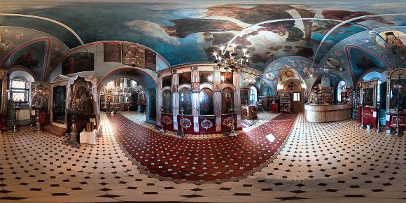 Панорама Преображенского храма в Спас-Загорье