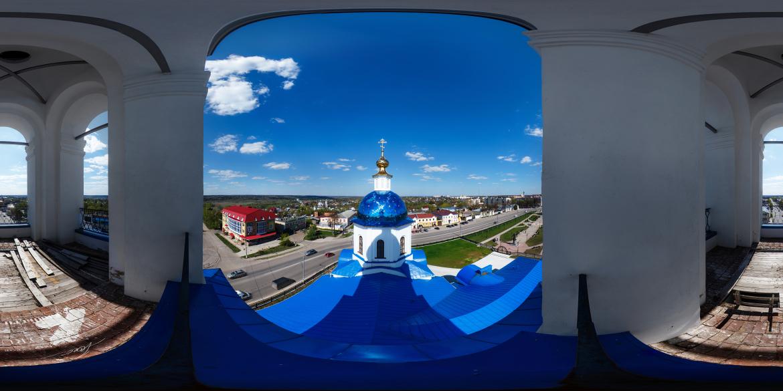 Панорама колокольни собора Казанской иконы Божией Матери